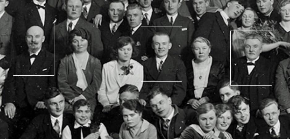 Auf dem Höhepunkt: Johann, Richard und August Willer bei der Feier zum 25-jährigen Jubiläum der Malerschule, 9.3.1929