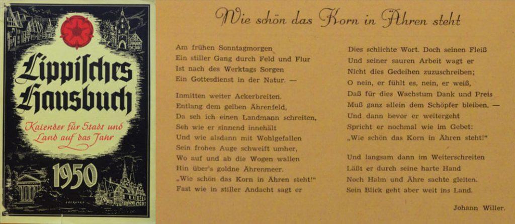 Gedicht Johann Willer 1950