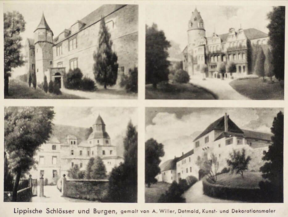 Postkarte mit lippischen Schlössern und Burgen gemalt von August Willer (oben: Burg Schwalenberg, Schloss Detmold, unten: Schloss Varenholz, Burg Sternberg)