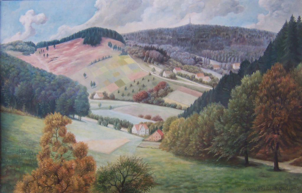 Lippische Schweiz mit Blick auf das Hermannsdenkmal, 1943, August Willer (1873 – 1954), Öl auf Sperrholz, 100 x 60 cm (Foto: Peter Klapprot)
