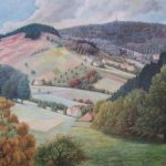 """""""Lippische Schweiz mit Blick auf das Hermannsdenkmal"""", Heimatbild von August Willer, Detmold"""