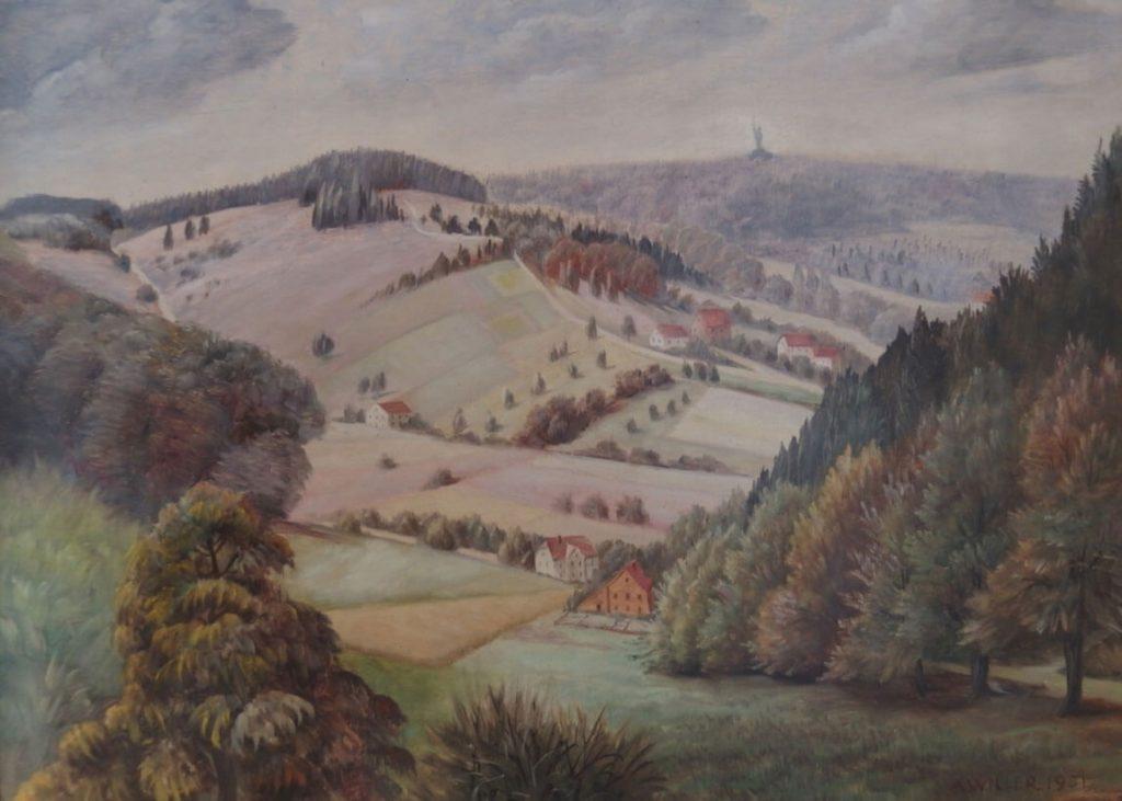 Lippische Schweiz mit Blick auf das Hermannsdenkmal, 1951, August Willer (1873 – 1954), Öl (Foto: Bernhard Meier zu Biesen)