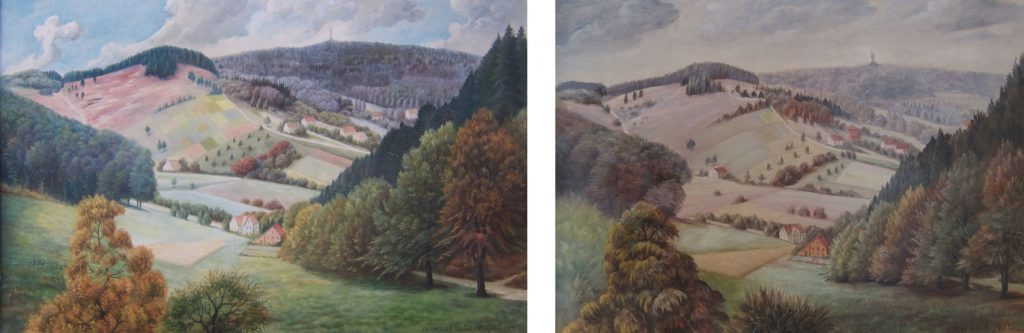 Beide Gemälde von August Willer im Vergleich (links: Version 1943, rechts: Version 1951)