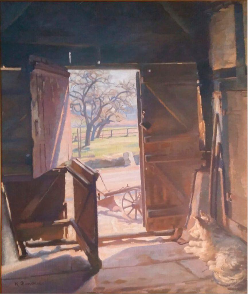 """Gemälde """"Ausblick aus einer Bauerndiele"""", Öl"""