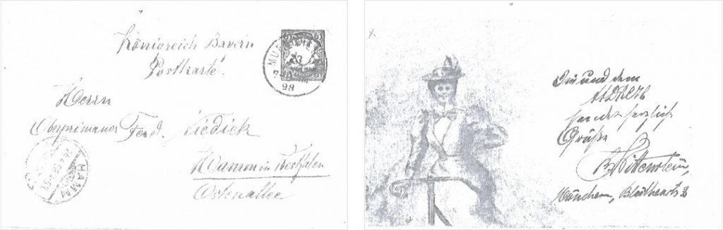 Postkarte von Bruno Wittenstein aus München, 1898 (Quelle: Stadtarchiv Hamm)