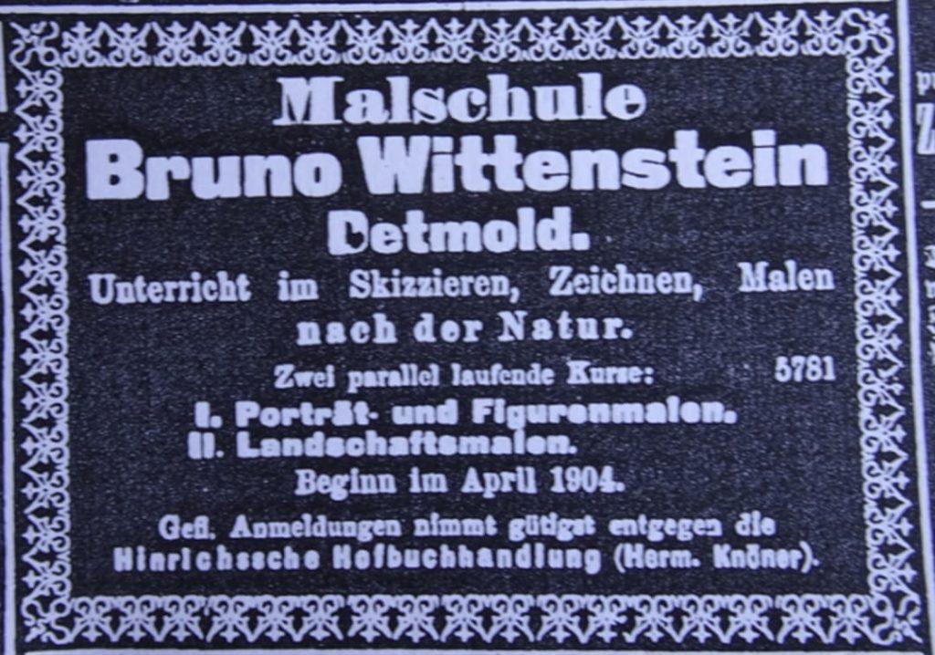 Werbung Malschule Bruno Wittenstein (Quelle: Lippische Landeszeitung, 11.4.1904)