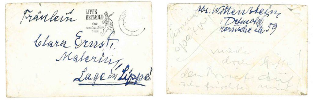 Brief von Bruno Wittenstein an Clara Ernst (Quelle: Stadtarchiv Lage)