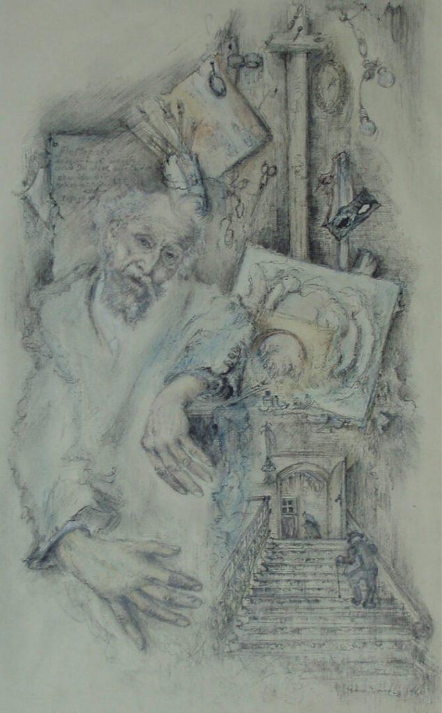Zeichnung von Clara Ernst – Maler Bruno Wittenstein (Quelle: Lippisches Landesmuseum)