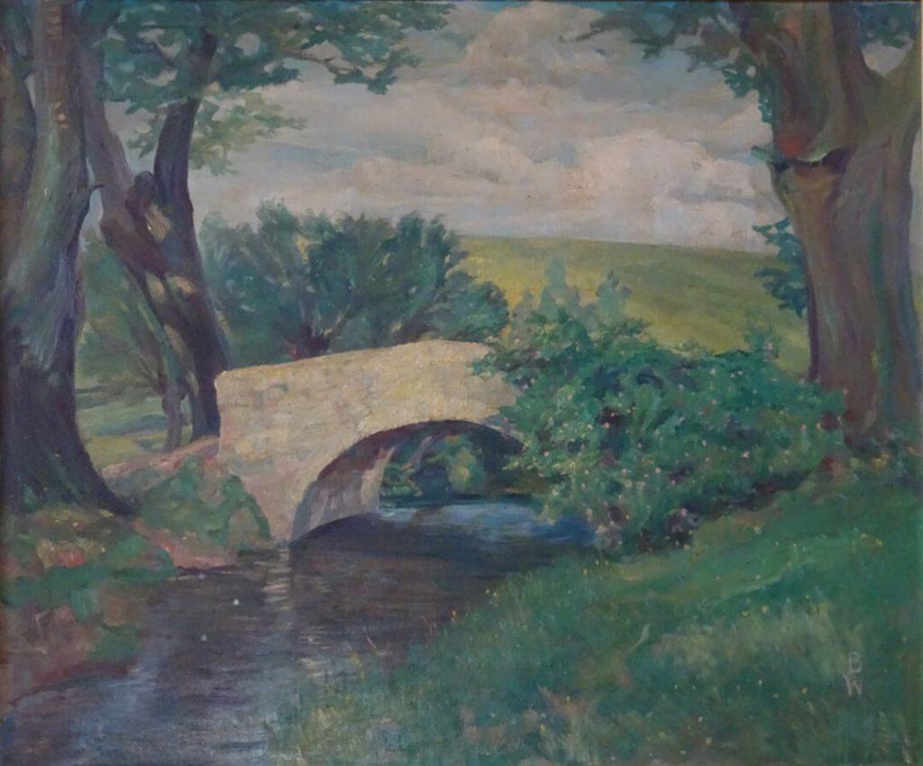 Die Brücke (über die Werre in sommerlicher Landschaft, Detmold Volkhausenstraße)