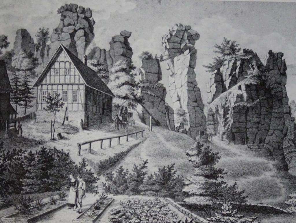 Familie Wittenstein vor großartiger Kulisse der Externsteine, Lithographie von Wilhelm Tegeler (Quelle: Lippische Landesbibliothek)