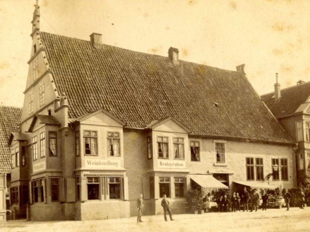 Weinhandlung Wittenstein und Carl Meiers Restaurant, Detmold ca. 1885 (Quelle: Lippische Landesbibliothek)