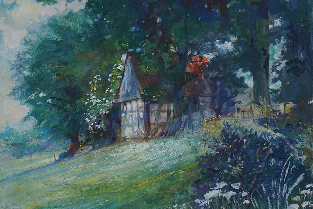 Waldhaus mit Blumenwiese