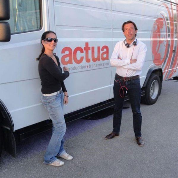Mit Bruno Beekmann am EBU Übertragungswagen